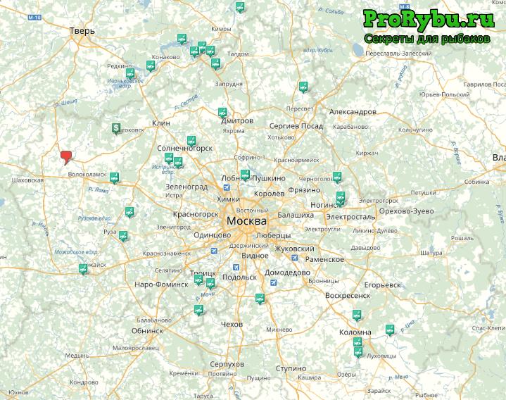 Карта рыбных мест в Подмосковье