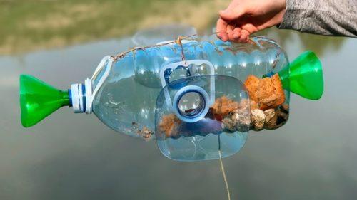 ловля рыбы пластиковой бутылкой