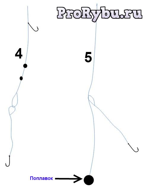 Поплавочная снасть на карася с двумя крючками