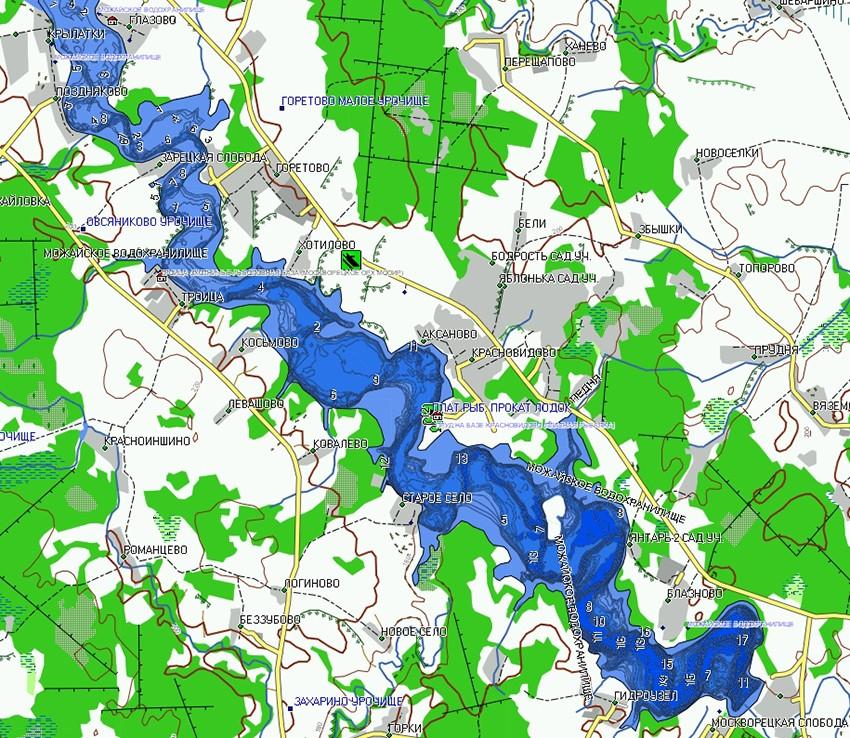 Карта Можайского водохранилища