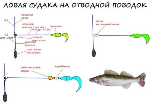 схема отводного поводка для рыбалки на судака