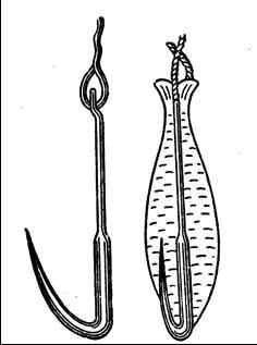 Рис. 4 Нижневолжская блесна (сбоку и сверху)