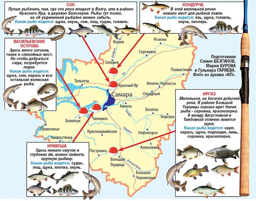 Карта рыболовных мест Самарской области