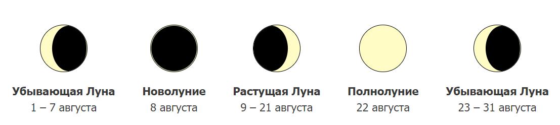 Фазы Луны в августе 2021 года